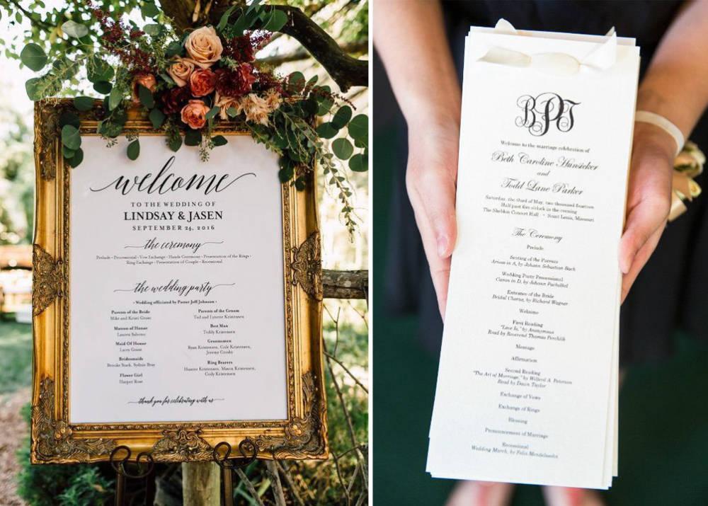67bf863c27 Nyomtatható esküvői programok, hogy mindenki tudja, mire számítson